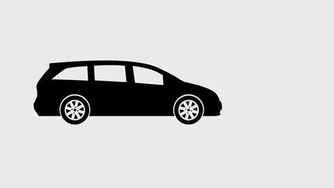 Moving car loop animation, video with transparent background