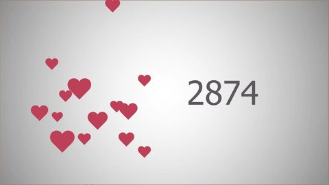Counting 10 000 likes with hearts in flat style for social network and other.