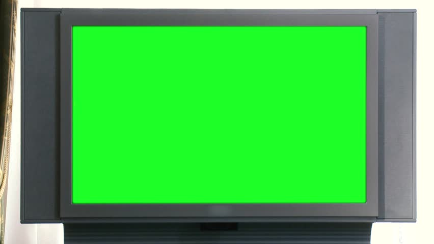 Green Screen old TV in office setting. Scene. Green TV screen in vintage office. Chromakey screen