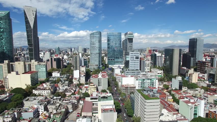 MEXICO CITY, MEXICO - CIRCA 2017: Aerial panoramic view of the skyline in Paseo de la Reforma in Mexico City