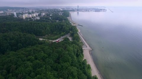 Aerial view. The city of Gdynia-Poland on the beach. Sunny morning.  City is located on the shore of the Baltic Sea.