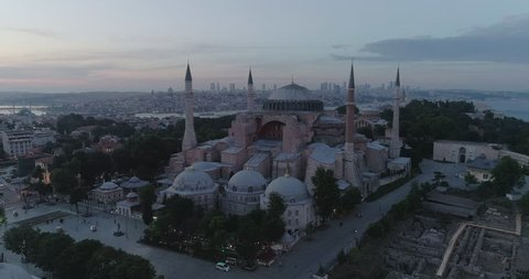 A spectacular 4k aerial view of the Hagia Sophia Mosque. Istanbul. Turkey. Hagia Sophia is a former Greek Orthodox Christian patriarchal basilica, later an Ottoman imperial mosque and now a museum in