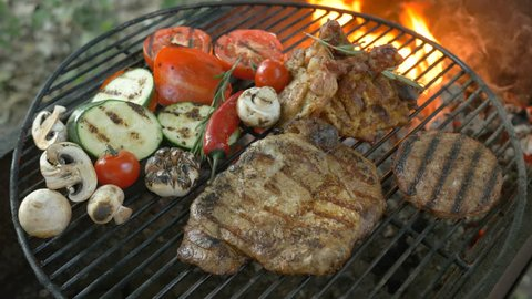 bbq barbecue Barbecue sauce on t-bone steak vegetables grilled tomatoes pepper mushrooms large piece steak beef chicken legs cutlet for burger family leisure, open air bbq barbecue 4k