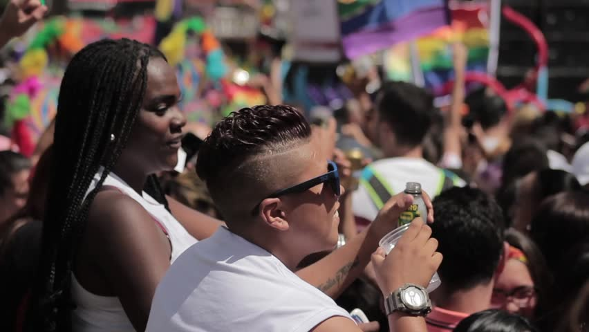 Medellin, Colombia - July 11, 2018: Truck transmitting gay pride Colombia for international broadcast