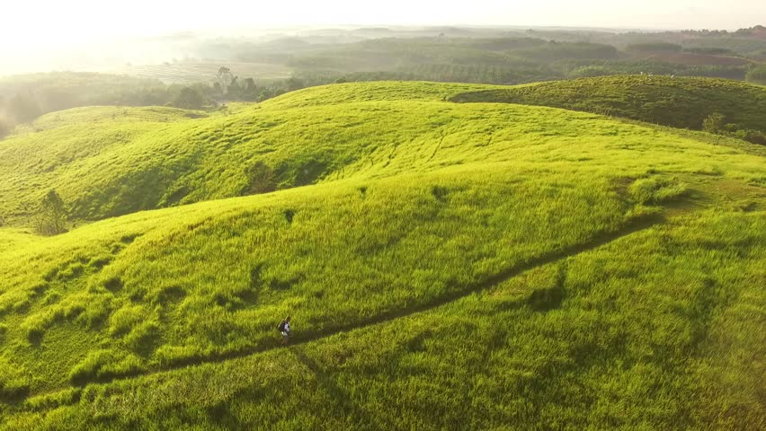 Aerial a male photographer walks alone on a Bukit Rimpi Teletubbies Hills of Kalimantan in the Morning | Zoom Out | Bakcwards Straight #1014547589