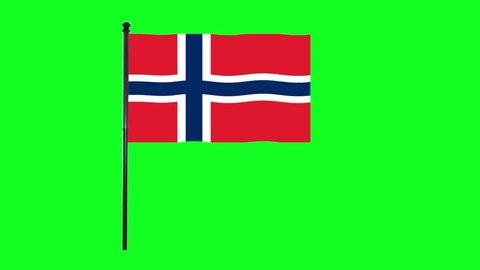 4K Norway, Norwegian flag is waving in green screen.