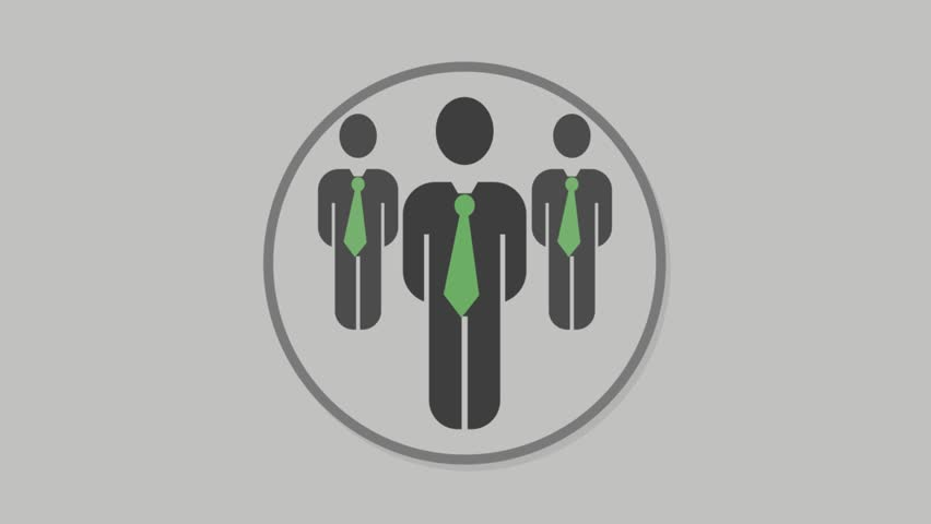 Corporate people icons animation with grey background.Businessmen Full icon animation with grey background.