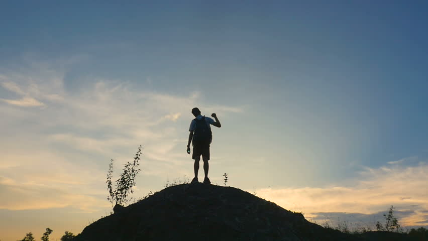 Silhouette Man Enjoying On The Top Of Mountain  #1014585899