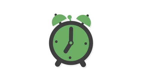 Education icons animation with white  background.Clock Alarm icon animation with white background.