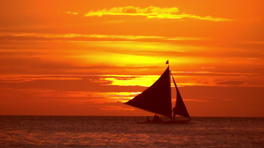 Amazing Colors Of Tropical Sunset Sail Boats Silhouettes