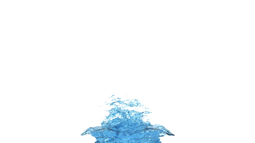 big light blue water splash fountain in super slow motion - isolated on white background, alpha channel included (FULL HD)