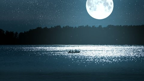 Boat with Fishermen in Full Moon. A boat in the distance floats along the sparkling moonlit against the backdrop of a big moon, a dark forest and a starry sky
