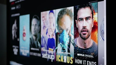 Plovdiv, Bulgaria, August 2018, User browsing video on demand streaming service netflix, hbo go, amazon prime video, hulu, mubi
