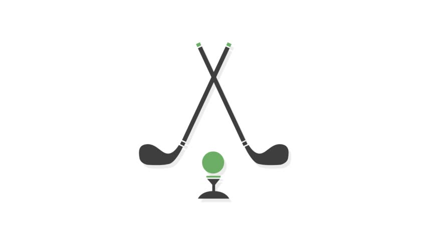 Sports icons animation with white  background.Golf icon animation with white background.