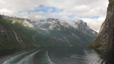 Dead water trace from motor ship and Geirangerfjord. Stranda, Norway