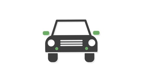 Transportation icons animation with white  background.Car icon animation with white background.