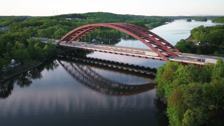 Aerial View of Bridge in Albany, New York