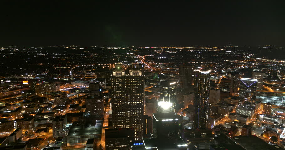 Atlanta Aerial v388 Panoramic night view of downtown 1/18