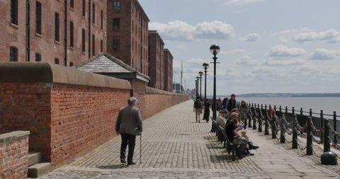 Waterfront at Albert Dock, Liverpool, Merseyside, Lancashire, England, UK, Europe
