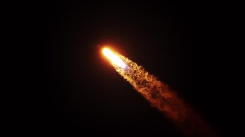 Beautiful shot of Falcon 9 rocket rising into nighttime sky with flames, exhaust, and smoke trail