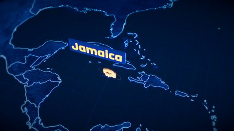 Jamaica country border 3D visualization, modern map outline, travel
