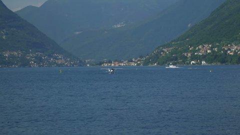 Floatplane landed on Lake Como in Italy