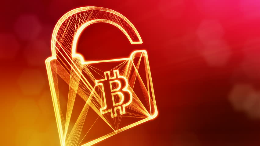 Bitcoin logo inside the lock. Financial background made of glow particles as vitrtual hologram. Shiny 3D loop animation with depth of field, bokeh and copy space. Red v5