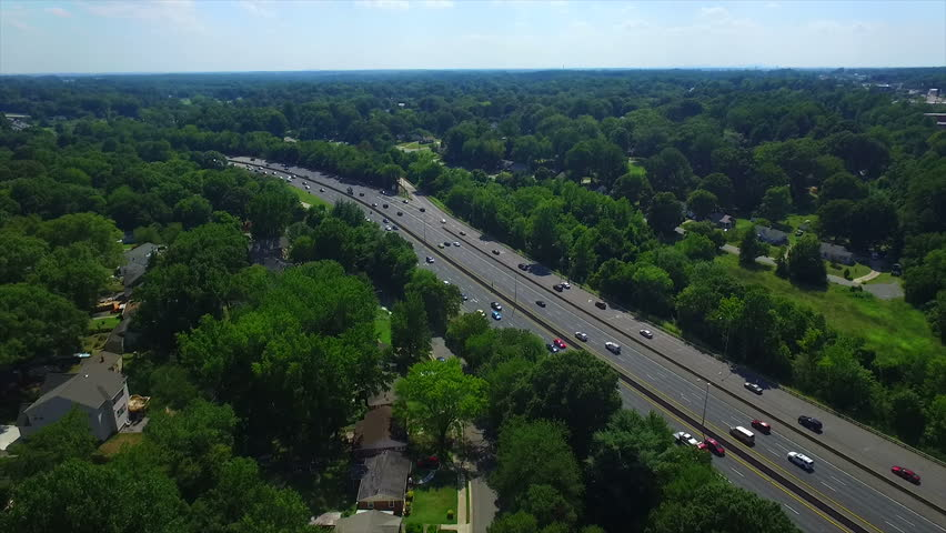 Aerial shot of Highway in Charlotte North Carolina
