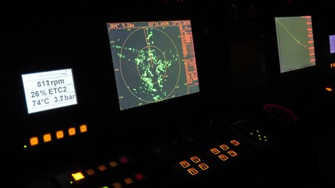 Radar monitor in a ship. Ship and cruise yacht navigation screens during sea maneuvers
