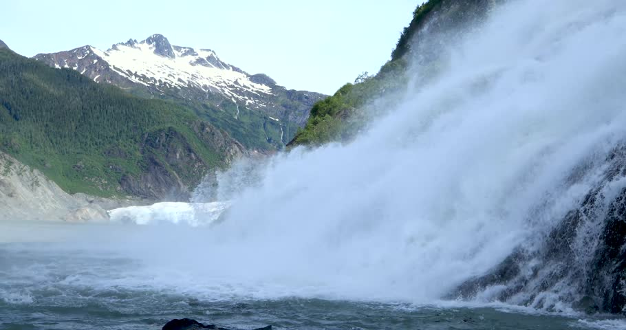 Mendenhall Glacier Falls, is a waterfall downstream of the Nugget Glacier, in the U.S. state of Alaska.The waterfall is fed by Nugget Creek.