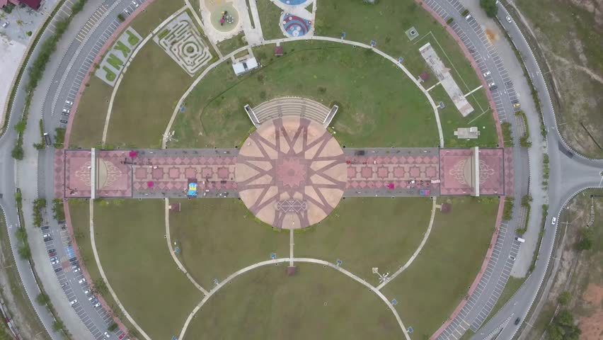 Aerial footage of a public recreational park known as Bulatan Amanjaya located in Ipoh, Perak. Ungraded.