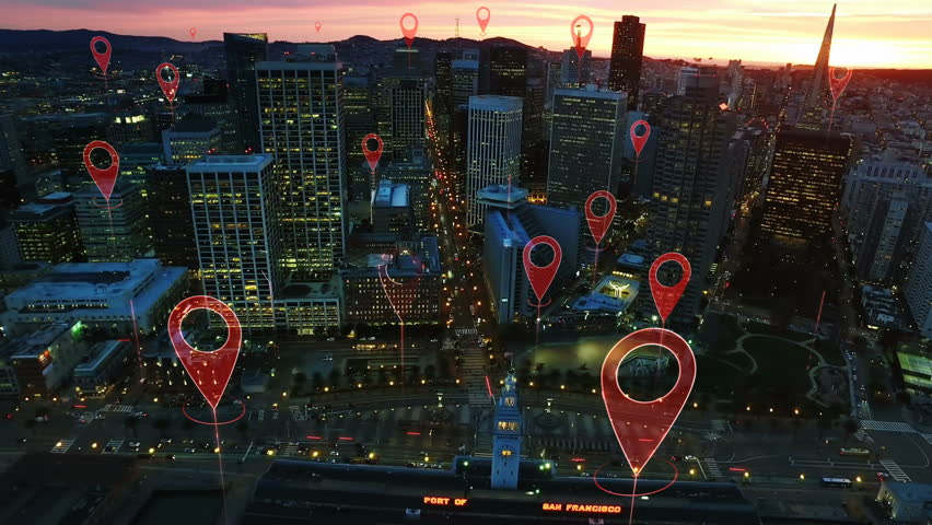 Technology concept, data communication, artificial intelligence. Aerial smart city. Localization icons in a connected futuristic city.   internet of things. San Francisco skyline. | Shutterstock HD Video #1014944269