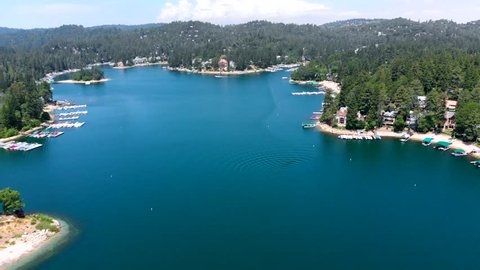 Drone Shot Descending and Flying Quickly Across Lake Arrowhead in Southern California