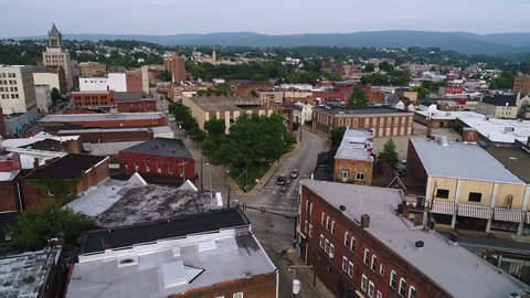 A slow rising aerial establishing shot of the small town of Uniontown, Pennsylvania, about 40 miles outside of Pittsburgh.