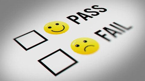 Pass and Fail Checkbox Marking Survey With Emoticon Icons. Mouse Cursor Checking Pass and Fail Option on White  Background.