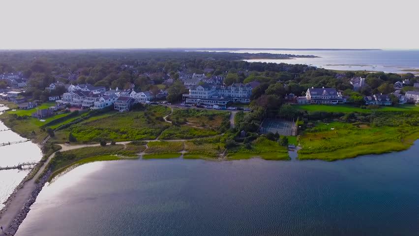 Aerial shot of Harbor-View Hotel in Edgartown, Martha's Vineyard, Massachusetts | Shutterstock HD Video #1015044379