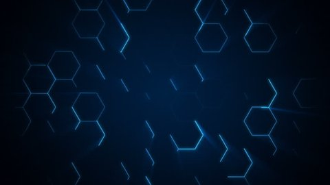 4K futuristic surface. Neon blue light hexagon pattern. Abstract motion background.