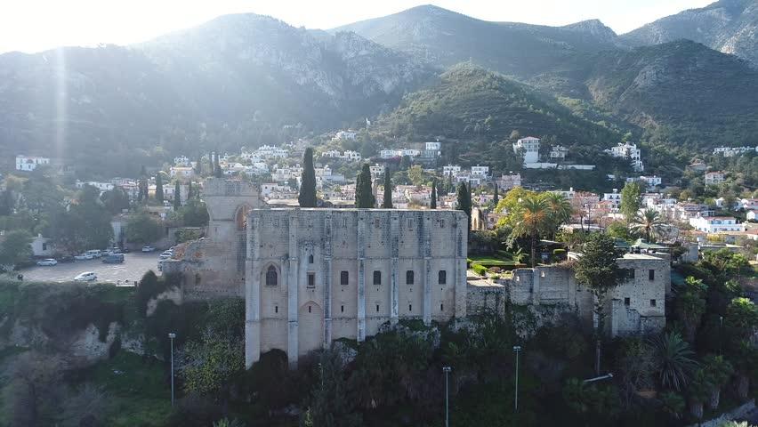 Bellapais Abbey and village North Cyprus, Monastery, Balabay?s , Kuzey K?br?s, Kyrenia, Girne,Northern Cyprus | Shutterstock HD Video #1015059709