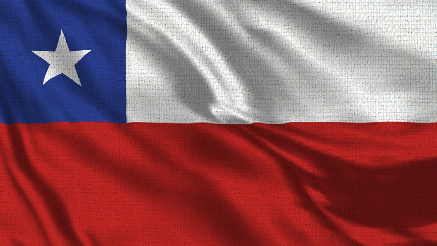 Chile Flag Loop - Realistic 4K - 60 fps flag waving in the wind. Seamless loop with highly detailed fabric texture. Loop ready in 4k resolution