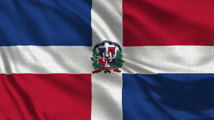 Dominican Republic Flag Loop - Realistic 4K - 60 fps flag waving in the wind. Seamless loop with highly detailed fabric texture. Loop ready in 4k resolution