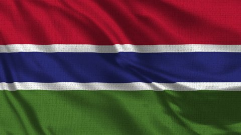 Gambia Flag Loop - Realistic 4K - 60 fps flag waving in the wind. Seamless loop with highly detailed fabric texture. Loop ready in 4k resolution