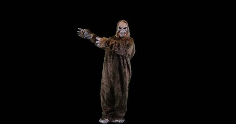 Bigfoot or Sasquatch creature looking and gesturing left.