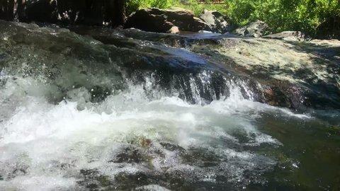 Water flowing in a hidden creek in Auburn, California.