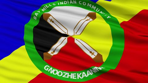 Bay Mills Community Indian Flag, Closeup View Realistic Animation Seamless Loop - 10 Seconds Long
