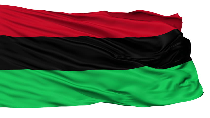 Panafrican Unia Afro American Black Liberation Flag, Isolated View Realistic Animation Seamless Loop - 10 Seconds Long