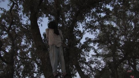 Hanging Man in Tree From Noose Still Kicking Halloween Horror