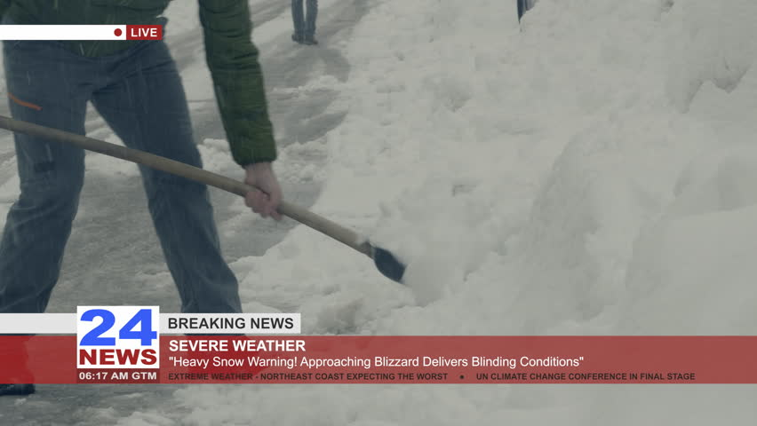 TV news about the severe weather, filming a man shoveling.