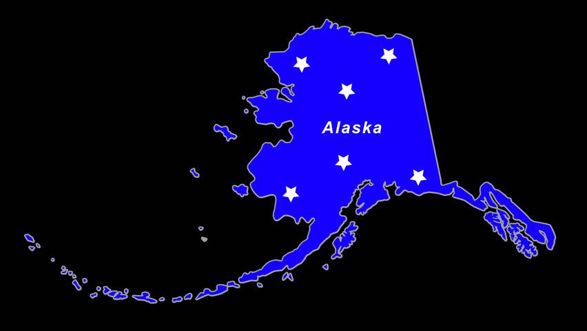 Alaska as blue state animated map.