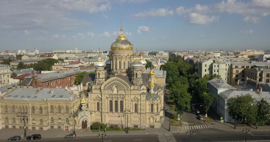 4K aerial sunny day video view of Saint Petersburg's old center embankment area, Neva River panorama, historical golden domes cathedral near Finnish Bay and surroundings of Russia's northern capital | Shutterstock HD Video #1015186759