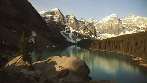 4K Overlook of Turquoise Moraine lake, Revealinging shot - Banff, Alberta - Morning, wide angle
